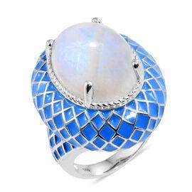 Sri Lankan Rainbow Moonstone (Ovl) Blue Colour Enameled Ring in Platinum Overlay Sterling Silver 18.000 Ct. Silver wt. 16.50 Gms.