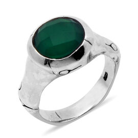 Royal Bali Collection Green Agate (Rnd) Solitaire Ring in Sterling Silver 3.130 Ct.