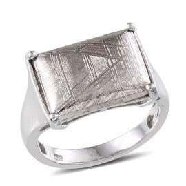 Meteorite (Bgt) Ring in Platinum Overlay Sterling Silver 17.400 Ct.