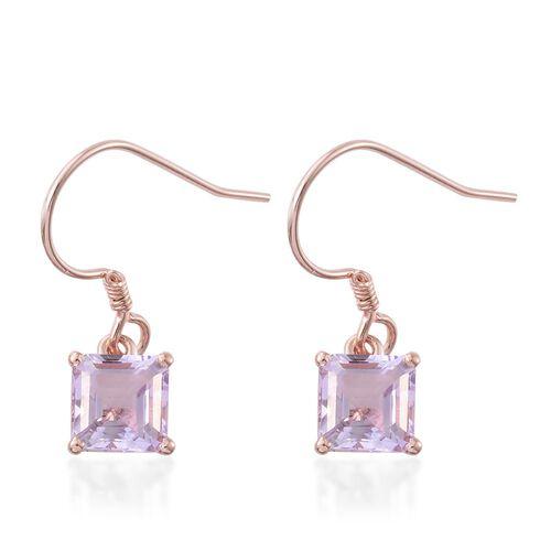 ASSCHER CUT Rose De France Amethyst Hook Earrings in Rose Gold Overlay Sterling Silver 3.500 Ct.