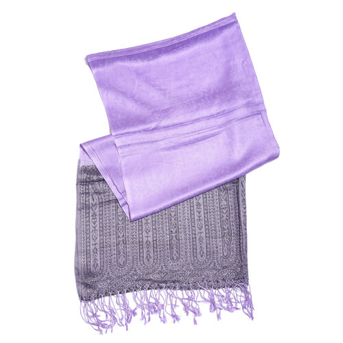 Lilac and Purple Colour Paisley Pattern Reversible Scarf with Tassels (Size 200X70 Cm)