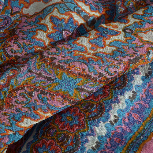 Close Out Deal - Set of 2 - Pink, Blue Multi Colour Floral and Paisley Pattern Scarf (Size 180X70 Cm), Blue and Grey Polka Dots Pattern Scarf (Size 160X105 Cm)