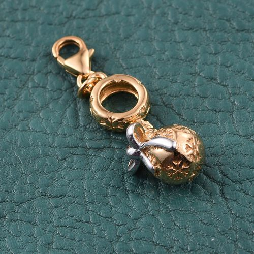 Yellow Gold and Platinum Overlay Sterling Silver Christmas Ball Charm, Silver wt 4.53 Gms.