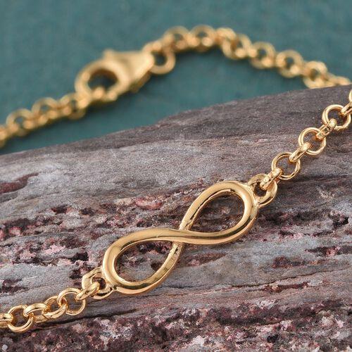 14K Gold Overlay Sterling Silver Infinity Station Chain Bracelet (Size 7.5)