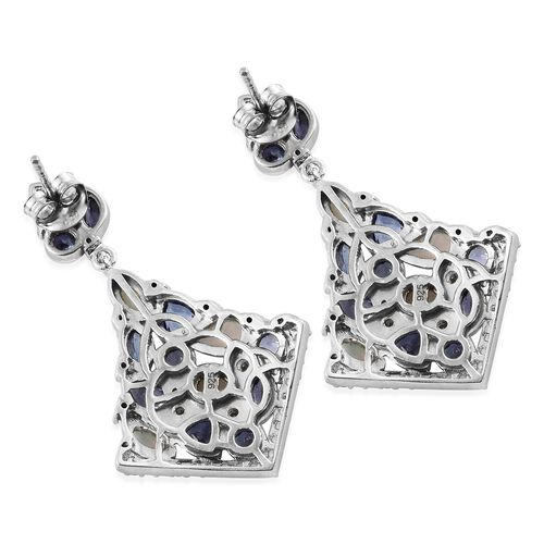 Designer Inspired- Ethiopian Welo Opal (Ovl), Tanzanite and Natural Cambodian Zircon Earrings (with Push Back) in Platinum Overlay Sterling Silver 4.000 Ct. Silver wt. 8.33 Gms. Number of Gemstone 100