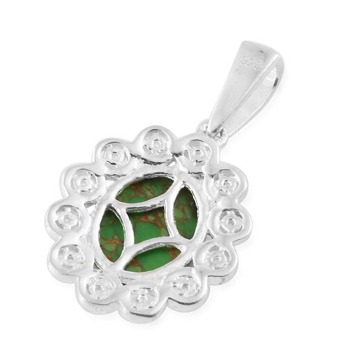 Mojave Green Turquoise (Ovl 2.60 Ct), Natural Cambodian Zircon Pendant in Sterling Silver 2.750 Ct.