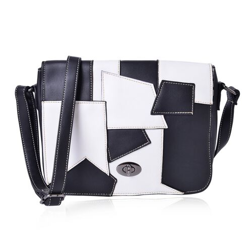 Abstract Art Inspired Black and White Colour Crossbody Bag with Adjustable Shoulder Strap (Size 24X19X7 Cm)