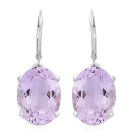Rose De France Amethyst (Ovl) Lever Back Earrings in Rhodium Plated Sterling Silver 16.500 Ct.