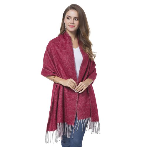 Italian Designer Inspired-Wine Red and Grey Colour Knitted Reversible Scarf with Tassels (Size 180X56 Cm)