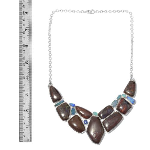 Australian Boulder Opal Rock and Opal Double Necklace (Size 18) in Sterling Silver 267.200 Ct.