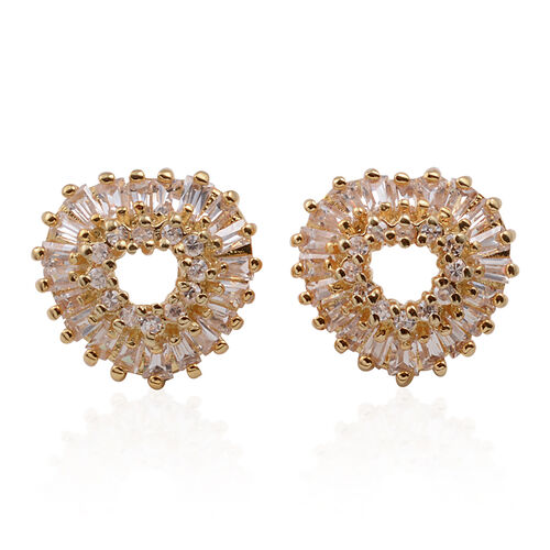 ELANZA AAA Simulated Diamond (Bgt) Stud Earrings (with Push Back) in Yellow Gold Overlay Sterling Silver