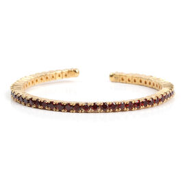 5.81 Ct Mozambique Garnet Bangle in Gold Plated Silver 14.90 gms 6.25 Inch