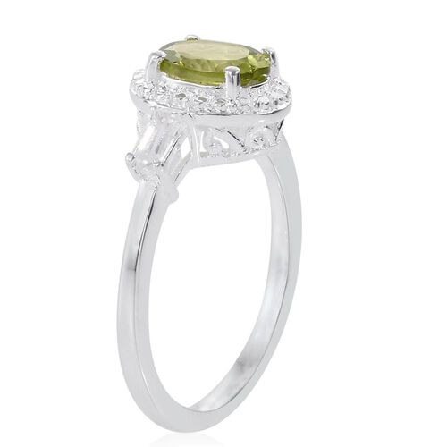 Hebei Peridot (Ovl 1.25 Ct), White Topaz Ring in Sterling Silver 1.500 Ct.