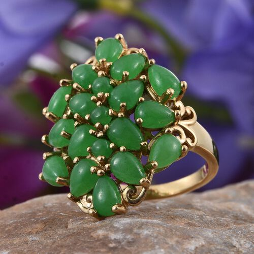 Green Jade (Pear) Cluster Ring in 14K Gold Overlay Sterling Silver 9.000 Ct.