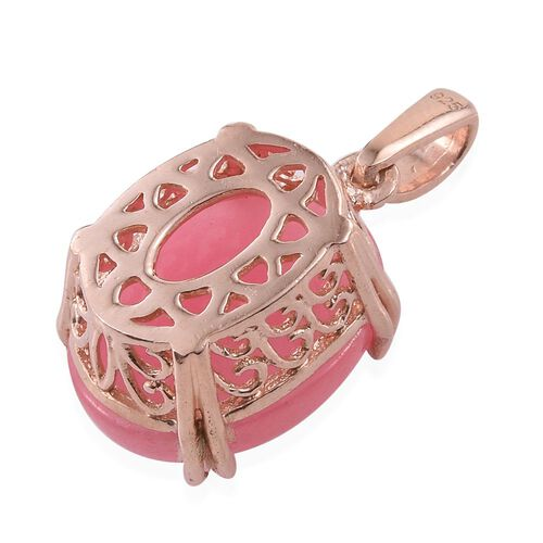 Pink Jade (Ovl) Pendant in Rose Gold Overlay Sterling Silver 10.750 Ct.