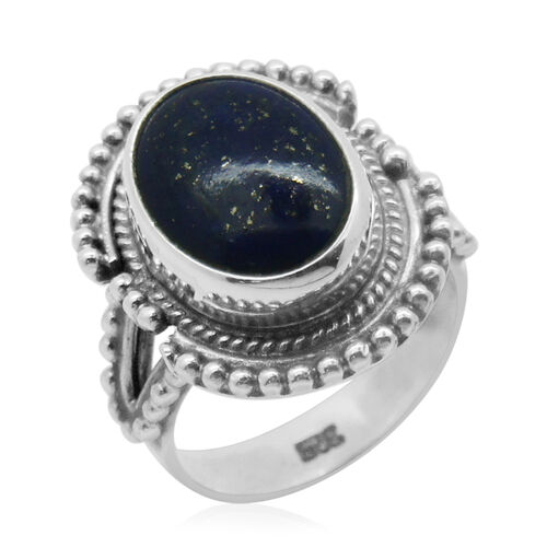 Royal Bali Collection Lapis Lazuli (Ovl) Solitaire Ring in Sterling Silver 4.400 Ct.