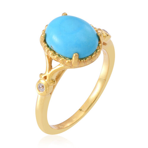 Arizona Sleeping Beauty Turquoise (Ovl), Natural White Cambodian Zircon Ring in 14K Gold Overlay Sterling Silver 2.750 Ct.