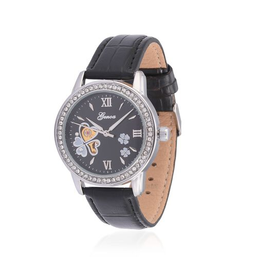 GENOA Automatic Skeleton White Austrian Crystal Studded MOP Floral Black Dial Water Resistant Watch in ION Plated Silver with Stainless Steel Back and Black Strap
