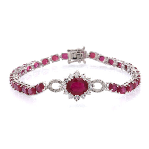 African Ruby (Ovl 3.77 Ct), White Topaz Bracelet (Size 7.5) in Rhodium Plated Sterling Silver 23.000 Ct. Silver wt 8.50 Gms.