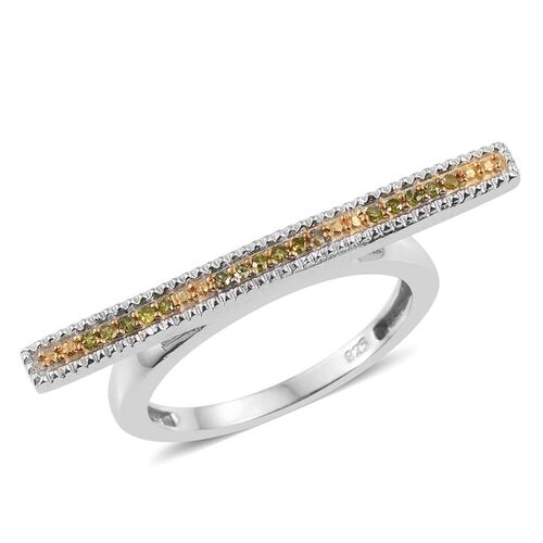 Yellow Diamond (Rnd) Bar Stacking Ring in Platinum Overlay Sterling Silver 0.100 Ct.