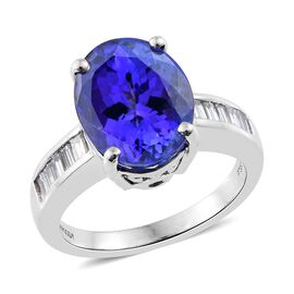 RHAPSODY 950 Platinum 6.88 Ct AAAA Tanzanite Ring with Diamond (VS/E-F)