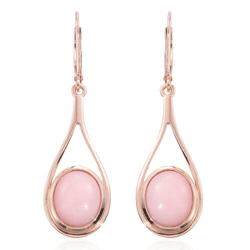 Natural Peruvian Pink Opal (Ovl) Lever Back Earrings in Rose Gold Overlay Sterling Silver 6.000 Ct.