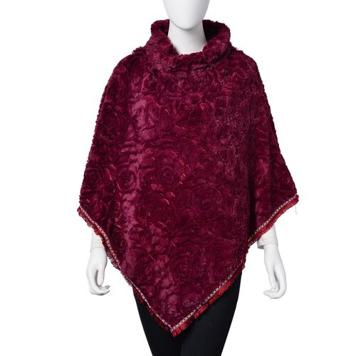 Rose Pattern Faux Fur Poncho - Red (One Size)