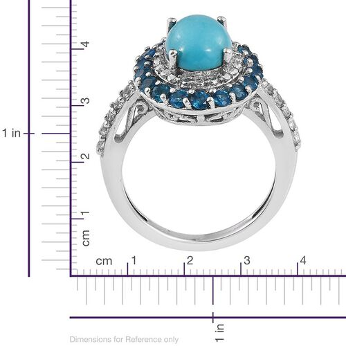 Sonoran Turquoise (Ovl 1.50 Ct), Malgache Neon Apatite and White Topaz Ring in Platinum Overlay Sterling Silver 2.250 Ct.