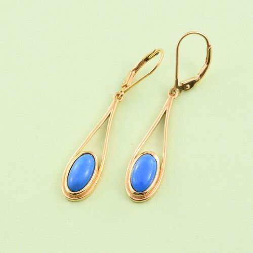 Ceruleite (Ovl) Lever Back Earrings in 14K Gold Overlay Sterling Silver 2.250 Ct.