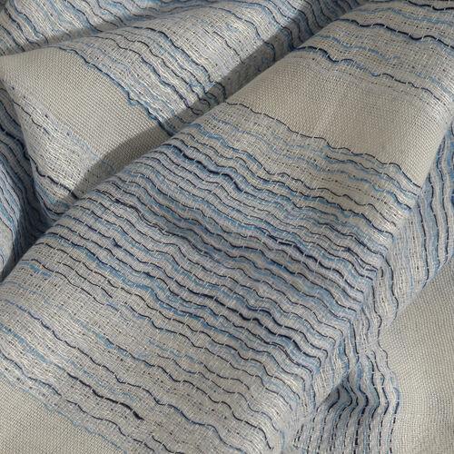 Blue and Black Colour Ornamental Pattern White Colour Jacquard Scarf (Size 180x70 Cm)