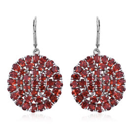 AAA Mozambique Garnet (Ovl) Lever Back Cluster Earrings in Rhodium Plated Sterling Silver 16.000 Ct. Silver wt 6.41 Gms.