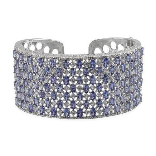 Tanzanite (Ovl), Natural Cambodian Zircon Cuff Bangle (Size 7.5) in Platinum Overlay Sterling Silver 29.750 Ct.