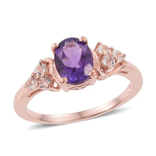 Amethyst, White Topaz 1.45 Ct Ring in Rose Gold Overlay Sterling Silver