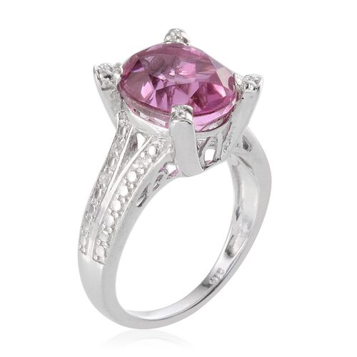 Kunzite Colour Quartz (Ovl 5.25 Ct), White Topaz Ring in Platinum Overlay Sterling Silver 5.350 Ct.