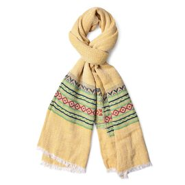 New Season-Yellow, Green and Multi Colour Zigzag Pattern Scarf with Fringes (Size 180X65 Cm)