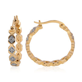 Diamond (Rnd) Hoop Earrings Gold Plated