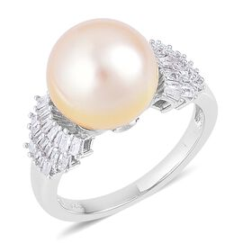 South Sea Golden Pearl (Rnd 10.5-11mm), Diamond Ring in Platinum Overlay Sterling Silver