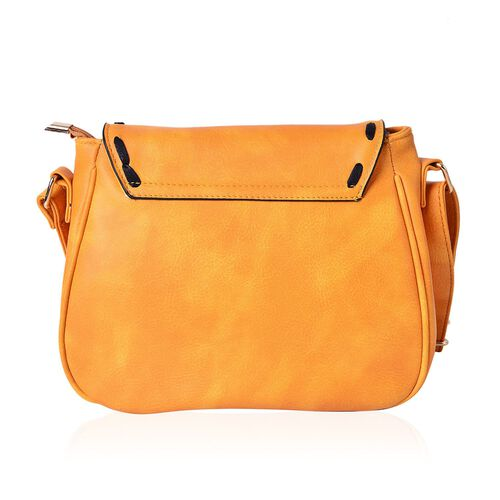 Mustard Colour Medium Size Crossbody Saddle Bag With Adjustable Shoulder Strap (Size 25x19x8 Cm)