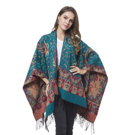 Designer Inspired-Blue, Red and Khaki Colour Paisley Pattern Reversible Kimono with Tassels (Size 127X75 Cm)