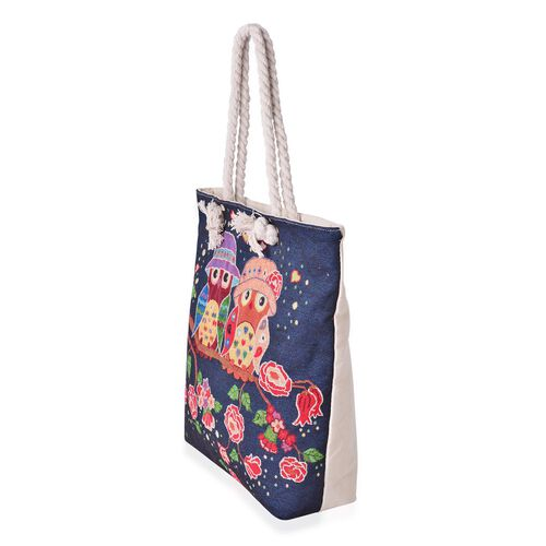 Designer Inspired-Navy with Multi Colour Owl Pattern Tote Bag (Size 44x39x33x9.5 Cm)