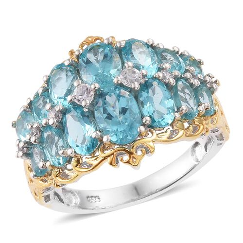 Paraiba Apatite (Ovl), Natural Cambodian Zircon Ring in Platinum and Yellow Gold Overlay Sterling Silver 5.250 Ct.
