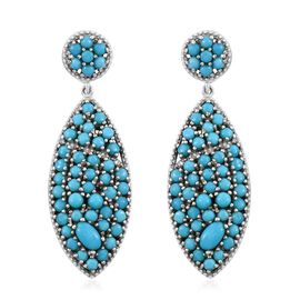 Limited Edition- AAA Arizona Sleeping Beauty Turquoise (Rnd) Earrings (with Push Back) in Platinum Overlay Sterling Silver 4.750 Ct. 98 Sleeping Beauty Stones Silver wt 7.18 Gms.