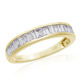 ILIANA 18K Yellow Gold 0.50 Ct Diamond (Bgt) Half Eternity Band Ring IGI Certified (SI/G-H)