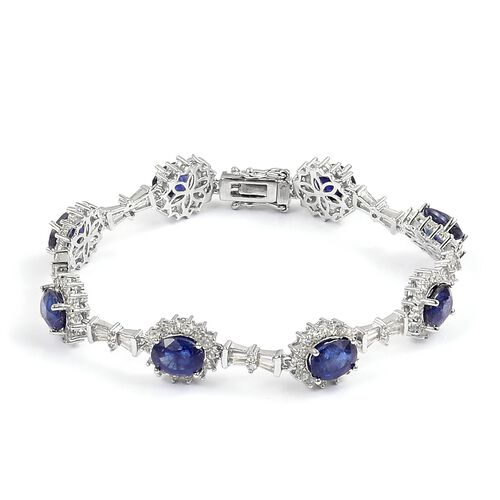 Masoala Sapphire (Ovl), Natural White Cambodian Zircon Bracelet (Size 7.5) in Rhodium Plated Sterling Silver 21.400 Ct. Silver wt 11.29 Gms. Number of Gemstone 174