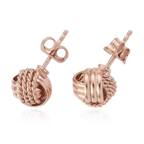 Set of 3 - Rose Gold, Yellow Gold and Rhodium Plated Sterling Silver Knot Stud Earrings (with Push Back), Silver wt. 8.05 Gms.