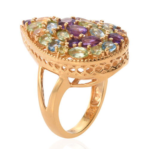 GP Amethyst (Rnd), Hebei Peridot, Electric Swiss Blue Topaz, Citrine and Multi Gemstone Ring in 14K Gold Overlay Sterling Silver 4.000 Ct.