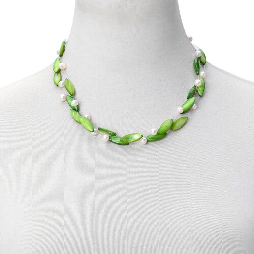 Designer Inspired-Green Shell Pearl and Fresh Water White Pearl Triple Strand Necklace (Size 18) in Silver Tone