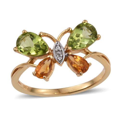 Hebei Peridot (Pear), Citrine Butterfly Ring in 14K Gold Overlay Sterling Silver 2.000 Ct.