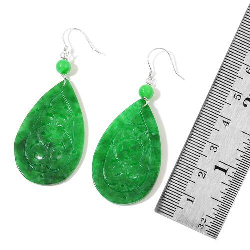 Hand Carved Green Jade Drop Hook Earrings in Rhodium Plated Sterling Silver 38.000 Ct.
