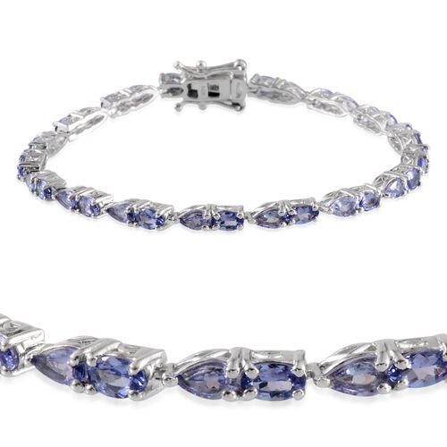 Tanzanite (Ovl) Bracelet in Platinum Overlay Sterling Silver (Size 7.5) 6.000 Ct.